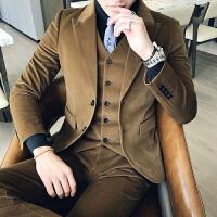 新品18秋冬装男士潮流个性丝绒西服套装韩版修身青年免烫休闲三件