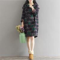 加绒卫衣孕妇连衣裙孕妇装秋冬季新款韩版宽松孕妇中长款上衣