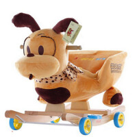 儿童木马两用摇摇马婴儿摇椅宝宝玩具实木带音乐拉杆摇车