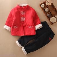 中国风宝宝过年唐装儿童周岁拜年服秋冬汉服民族服装男童新年衣服 红色 棉麻套装