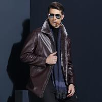 皮衣男士冬季加绒加厚中年爸爸装真毛皮夹克装保暖外套皮毛一体