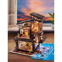 房子模型diy小屋手工制作玻璃别墅木质房子中国风特别生日礼物女