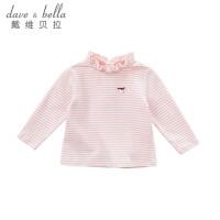 davebella戴维贝拉2018春季新款女童T恤 宝宝全棉打底衫DB7375