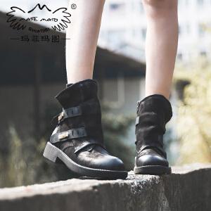 玛菲玛图短靴女春秋新款朋克风磨砂皮圆头单靴中跟平底侧拉链马丁靴女5751-32