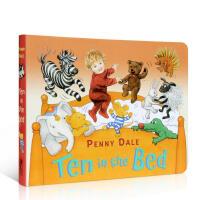 英文原版书绘本 Ten in the Bed 床上的十个小朋友 儿歌童谣亲子英语启蒙 0-3-6岁家长互动早教图书吴敏