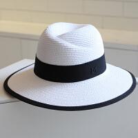 夏天帽子女礼帽标女士大沿草帽沙滩帽海边太阳帽 防晒遮阳帽子 白色 黑色包边款 可调节