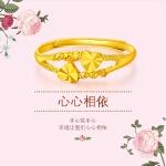 周大福 珠宝双行心相对足金黄金戒指(工费:48计价)F156901