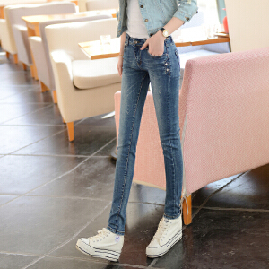 SOOSSN 2018夏季浅色牛仔裤女长裤小脚裤韩版修身弹力铅笔裤磨白水洗16103