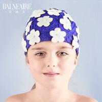范德安儿童泳帽 2018女童花瓣游泳帽 防晒布泳帽 舒适护耳沙滩帽