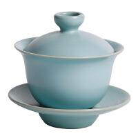 汝窑天蓝乌龙盖碗茶杯三才扣碗茶具功夫茶泡茶碗中式敬茶