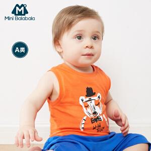 迷你巴拉巴拉儿童装男童宝宝夏季新款无袖卡通背心纯棉