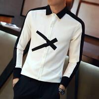 秋季衬衫男韩版长袖白衬衣白色寸衣外套男士潮流学生秋装衣服宽松