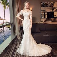 一字肩婚纱礼服2018新款新娘结婚韩版显瘦长袖鱼尾婚纱小拖尾2018 小拖尾婚纱