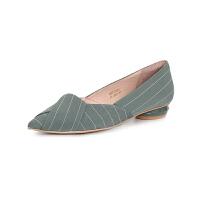 【减后价:199元】SATURDAYMODE 春季织物复古条纹尖头异形跟时尚单鞋MD91111024