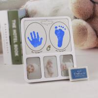 宝宝手足印 手脚印10寸相框印台印油婴儿满月百天儿童纪念礼品手足印