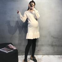 中长款鱼尾毛衣裙孕妇秋装连衣裙2018新款秋冬针织打底裙秋季