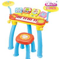 宝丽电子琴音乐玩具儿童钢琴初学女孩多功能敲打鼓婴幼儿童可插电