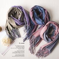 新款 爆 超柔加厚纯色个性双面色 绒围巾 潮女士围巾