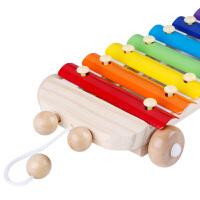 儿童积木手敲琴拖车宝宝乐器玩具1-2-3周岁婴幼儿八音敲琴