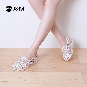 【低价秒杀】jm快乐玛丽帆布鞋休闲平底蕾丝网布舒适平底浅口碎花女鞋子