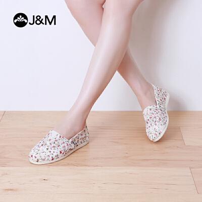 jm快乐玛丽帆布鞋休闲平底蕾丝网布舒适平底浅口碎花女鞋子61820W