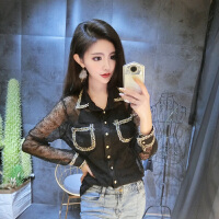 2018春装韩版新款性感透视蕾丝口袋长袖打底衫修身上衣女赠小背心