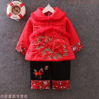 女童冬装棉衣套装婴幼儿抓周小女孩新年衣服1-2-3-4岁女宝宝唐装