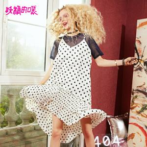 【秒杀价:215】妖精的口袋港味复古套装新款时髦chic波点套装裙子女