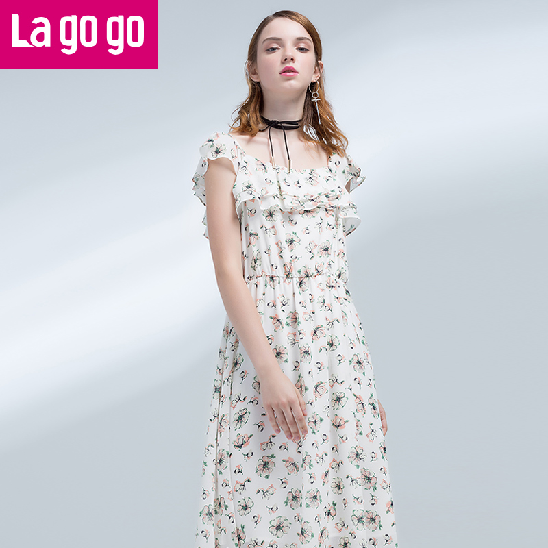 Lagogo2017夏季新款收腰碎花雪纺连衣裙女中长款显瘦气质短袖裙子
