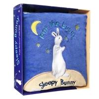 英文原版童书 Sleepy Bunny Pat the Bunny 晚安/睡着拍拍小兔子Cloth Books 0-2