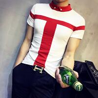 夏季男生短袖T恤翻领POLO衫韩版拼色社会人精神小伙紧身半袖小衫