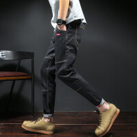 夏季新款复古牛仔裤男士加大码九分裤韩版青少年修身潮便宜男裤子