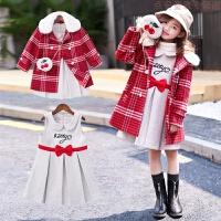 童装女童秋冬装套装2018新款洋气时髦呢子大衣儿童冬装毛呢两件套 图片色