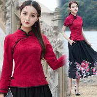 中国风女装上衣棉麻立领长袖衬衫 民族风春装盘扣上衣显瘦打底衫