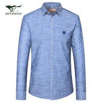 七匹狼长袖衬衫 17秋季新款商务休闲百搭男士方领纯棉长袖衬衣