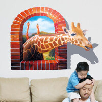 3d立体墙贴儿童房卧室床头可移除贴纸客厅电视背景装饰贴画长颈鹿