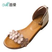 B茵曼女鞋新一字扣带平底凉鞋女夏花朵罗马凉鞋4872050081