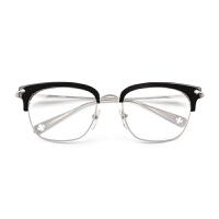 眼镜钛平光复古半框眼镜架女大框配成品近视眼镜男士
