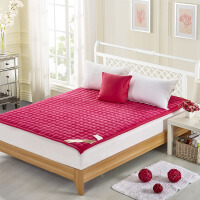 软床垫铺床褥子冬季加厚柔软地铺睡垫1.8m床折叠防潮垫被1.5m床 玫红色 法莱绒面包格床垫