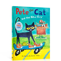【全店300减100】英文原版 Pete the Cat and the New Guy 皮特猫系列A4大开宝宝兴趣养成