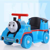 电动托马斯小火车可坐人无轨道小孩可坐儿童男孩玩具车四轮摩托车 蓝色 单驱 大电瓶+早教功能