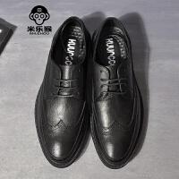 米乐猴 潮牌增高男鞋雕花英伦尖头男士皮鞋商务休闲鞋耐磨防滑低帮单鞋男鞋