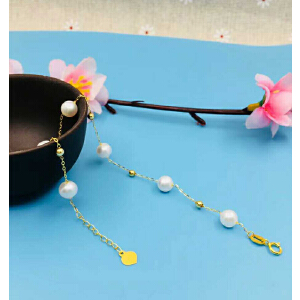 18K玫瑰金镶嵌天然珍珠手链【FEH】