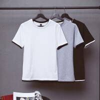 纯色日系圆领短袖T恤男士衣服加大码胖子韩版半袖假两件夏季