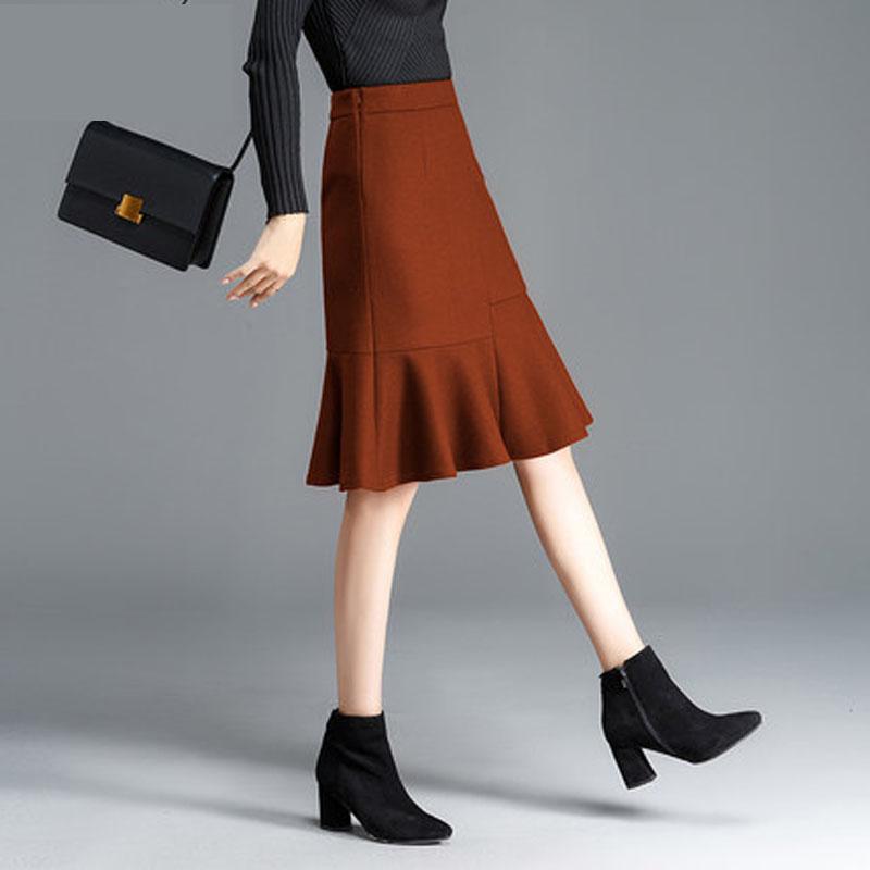 半身裙秋冬短裙女字裙大码高腰鱼尾包臀裙半裙