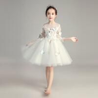女童白纱长袖婚纱花童蓬蓬纱公主裙儿童钢琴演出服女孩晚礼服冬季 白色长袖