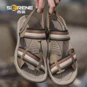 西瑞凉鞋男新款夏季真皮沙滩鞋皮凉男士休闲男鞋户外软底越南拖鞋2166