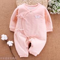 冬季婴儿连体衣秋冬季加厚新生儿衣服0-3个月初生宝宝婴儿棉衣秋冬新款 粉红色 H1205-22
