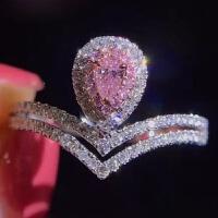 S925粉色彩钻 镀金水滴形梨形皇冠粉钻戒指 优雅仿真钻戒婚戒