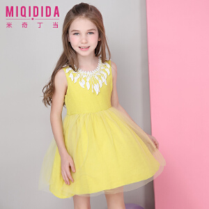 米奇丁当女童童装裙子2018夏季新款纯色淑女蕾丝蓬蓬连衣裙纱裙